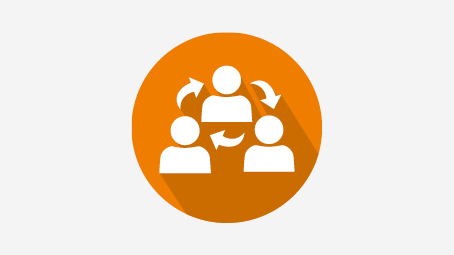Orange circle with connected people in the center that symbolizes effective communication.