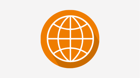 Orange circle with cross-linked white lines symbolizing an extensive knowledge.