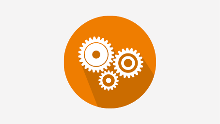 Orange circle with white gears symbolizing an ability to work scientifically.