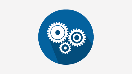 Blue circle with white gears symbolizing an ability to work scientifically.