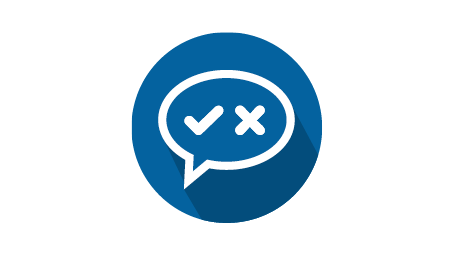 Blue circle with a white speech bubble, a checkmark and a cross symbol in the middle that symbolizes a well-founded decision-making ability.