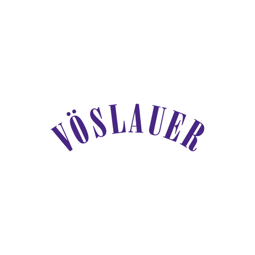 Vöslauer logo in white and purple