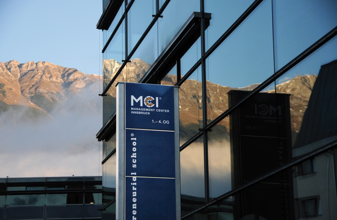 The entrance of the MCI with the Nordkette in the background