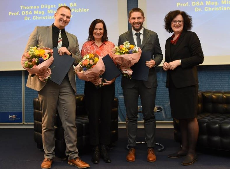 The best MCI lecturers 2019. From left: Thomas Dilger, Michaela Pichler, Christian Ploder, Claudia Mössenlechner. Photo: MCI