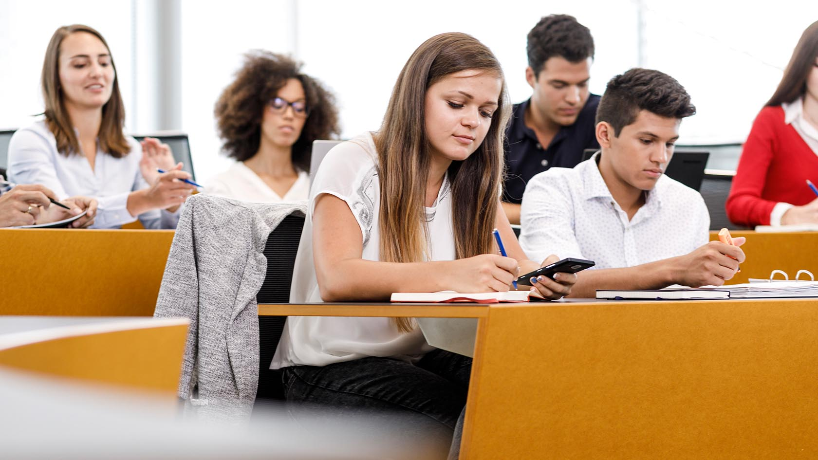 Students in a bright seminar room working concentrated